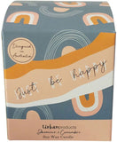 Be Happy Boxed Soy Candle Blue