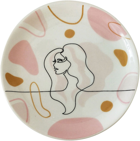 Lady Sketch Trinket Dish Peach 10cm
