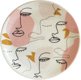 Abstract Face Trinket Dish Peach 10cm