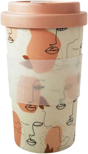 Abstract Face Eco Mug Pink Mustard 400
