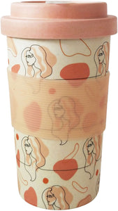 Lady Sketch Eco Mug Pink Mustard 400ML