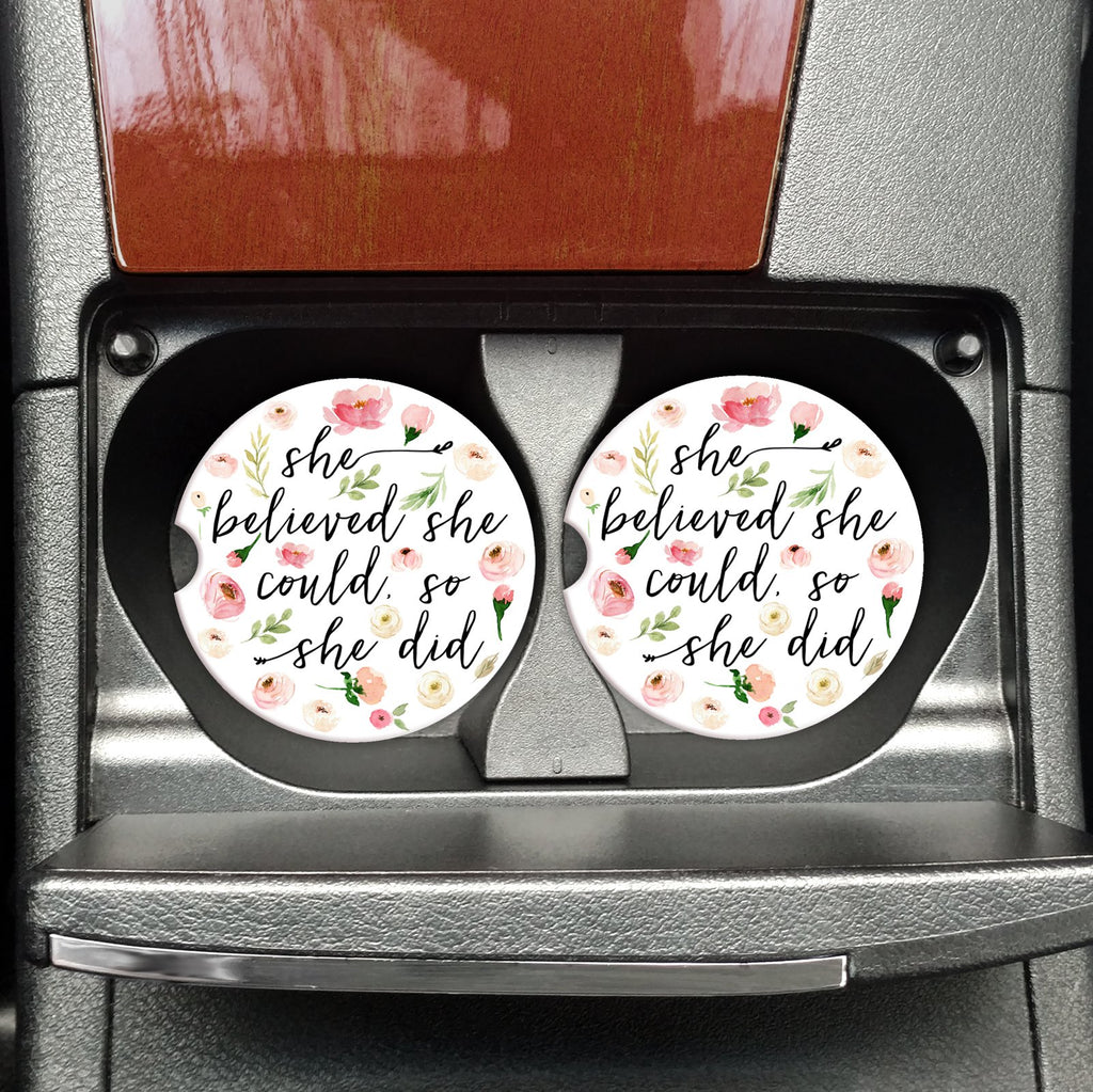 """She Believed She Could So She Did"" Car Coasters"