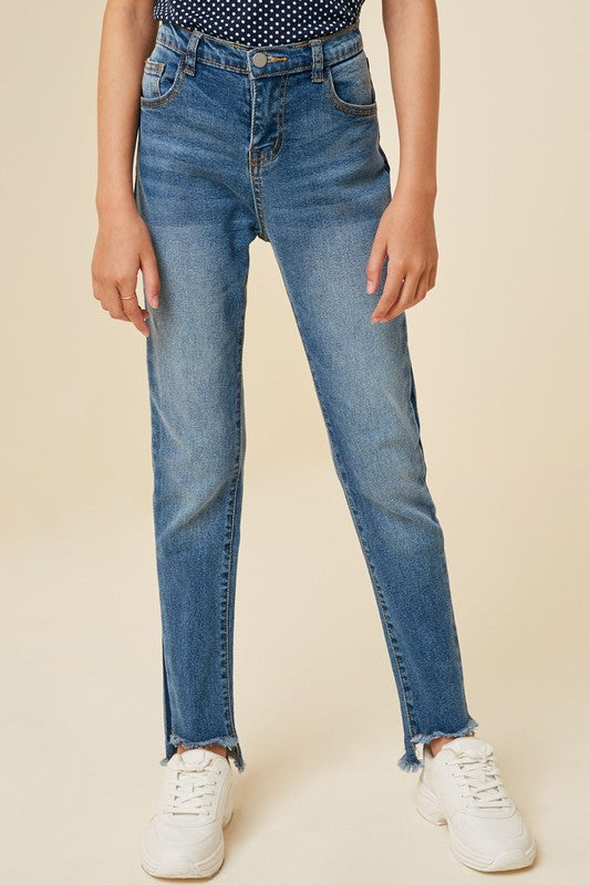 Stone Wash Frayed Ankle Jean - Kids