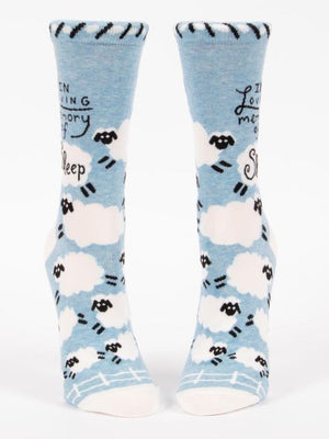 """In Loving Memory of Sleep"" Crew Socks"