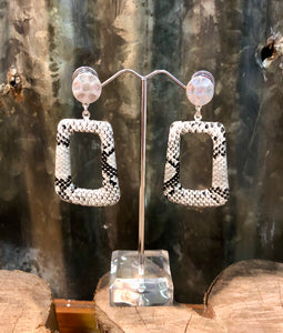 Snakeskin Rectangle Hoop Earrings