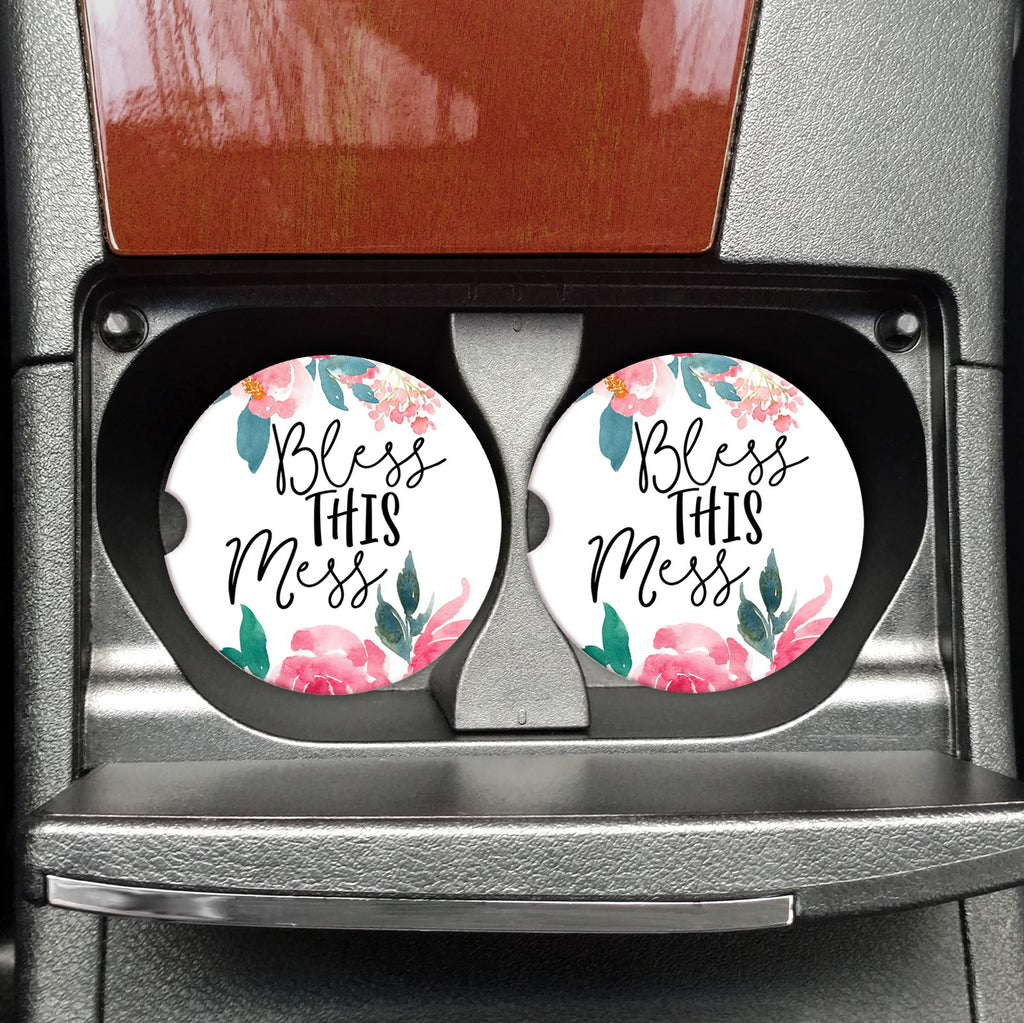 """Bless This Mess"" Car Coasters"