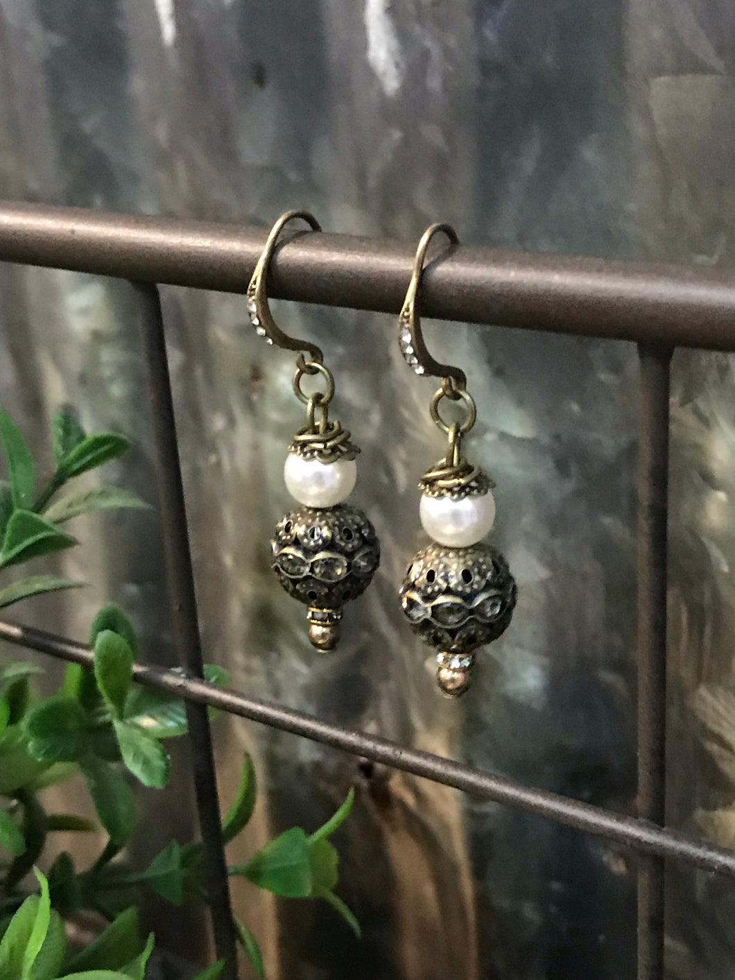 Pearl & Brass Earrings