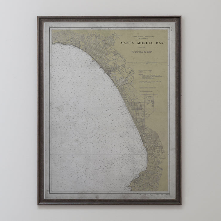 Santa Monica Nautical Map Circa Early 20th C.