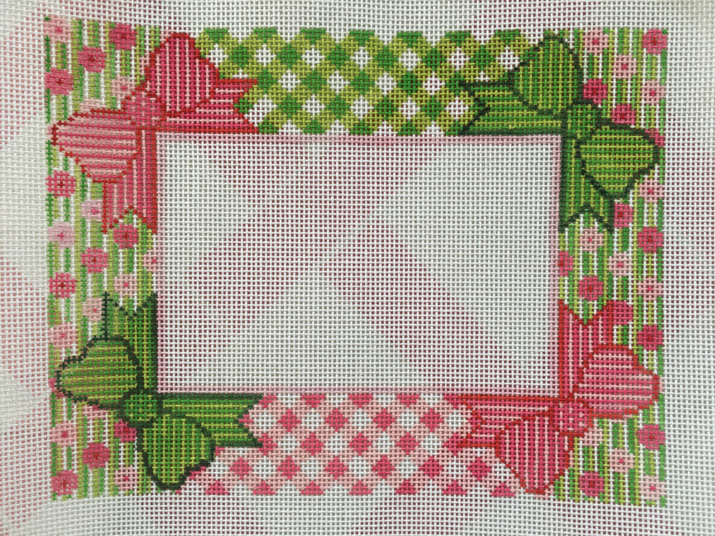Preppy Bow Frame Needlepoint Canvas #14 – The Pink Alligator