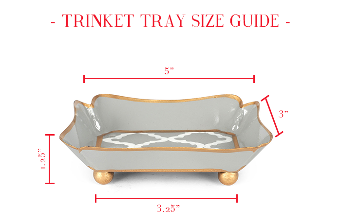 Green Chevron Metal Trinket Tray