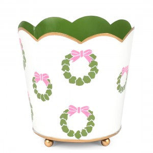 Pink & Green Wreath Scalloped Top Toleware Cachepot