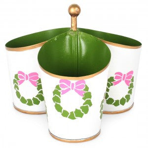 Pink & Green Wreath Metal Toleware Caddy