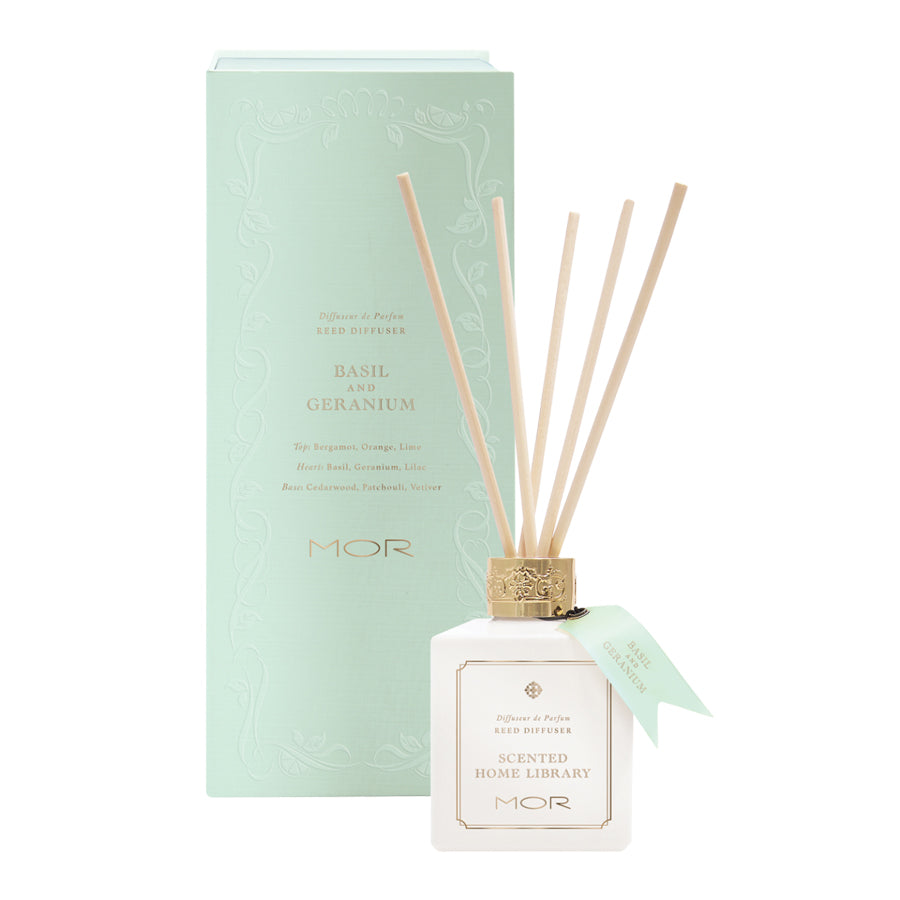 MOR Scented Home Library Basil and Geranium Reed Diffuser 180ml