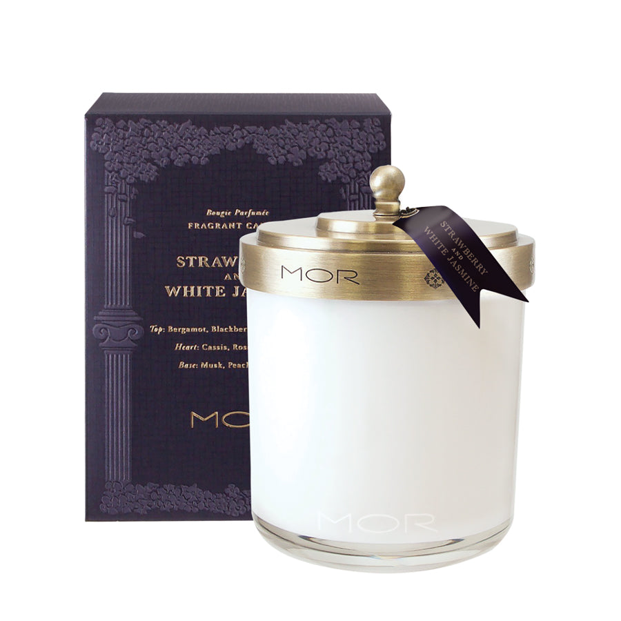 MOR Scented Home Library Strawberry and White Jasmine Fragrant Candle 380g
