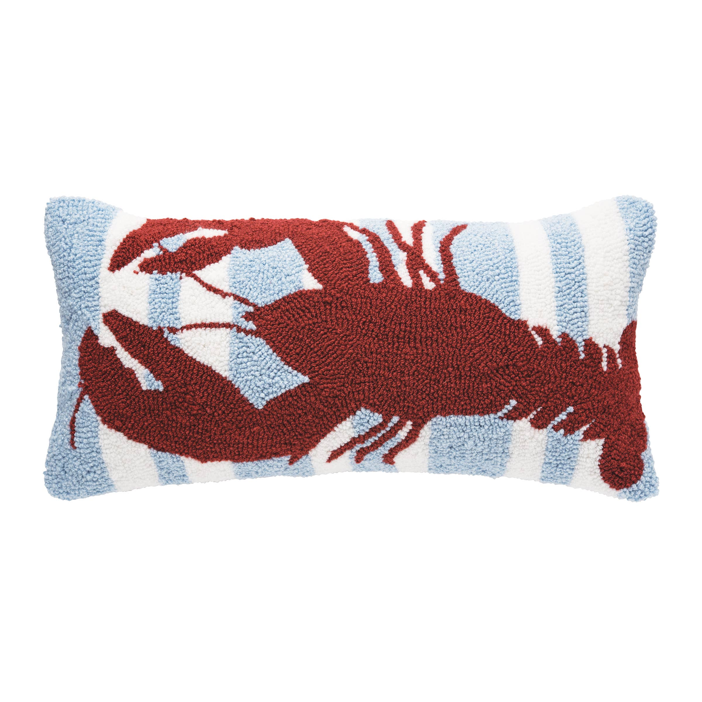 Striped Lobster 12 x 24 Hooked Pillow
