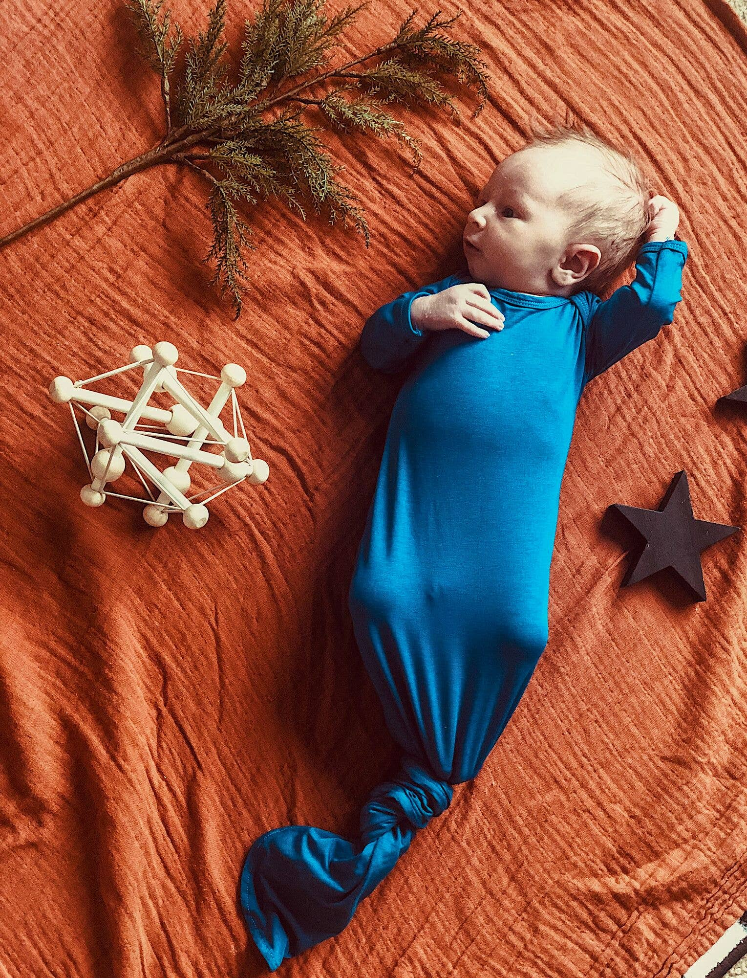 Three Little Tots-Blue Knotted Gown