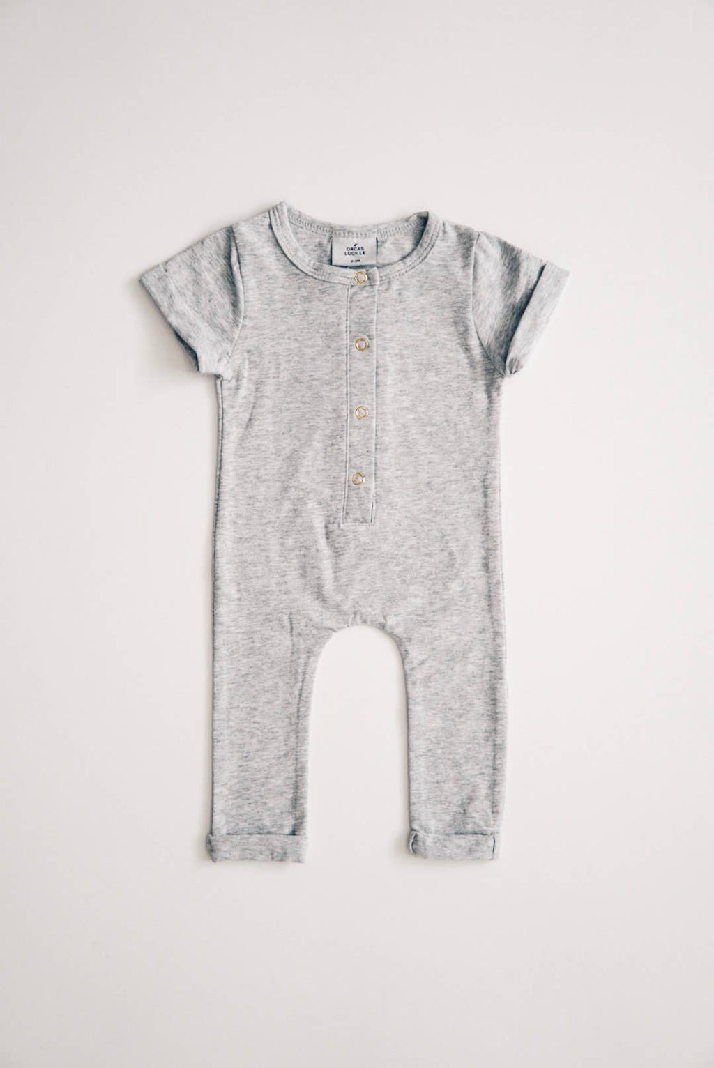 Orcas Lucille - Short Sleeve Henley Romper - Heather Grey - Le Bébé Chic Boutique