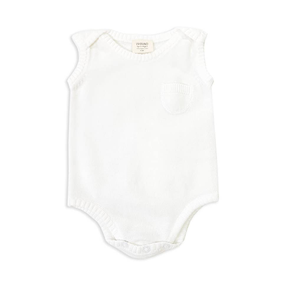 Viverano Organics - Pure White Sleeveless Bodysuit - Le Bébé Chic Boutique