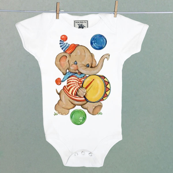 Acme Baby Co. - Circus Elephant Bodysuit - White Short Sleeve - Le Bébé Chic Boutique