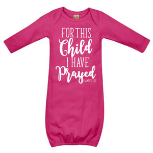 For this Child I Have Prayed Gown - Magenta Pink - Le Bébé Chic Boutique