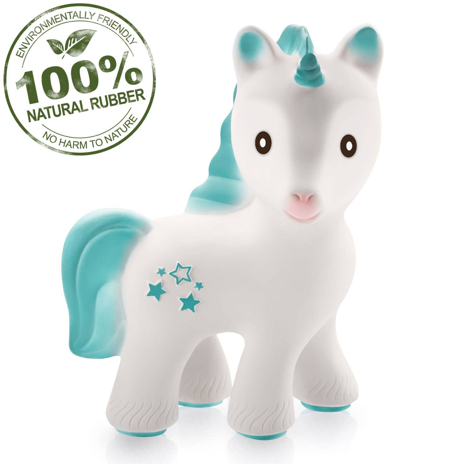 Mira the Unicorn Teether Turquois - 100% Pure Natural Rubber - Le Bébé Chic Boutique