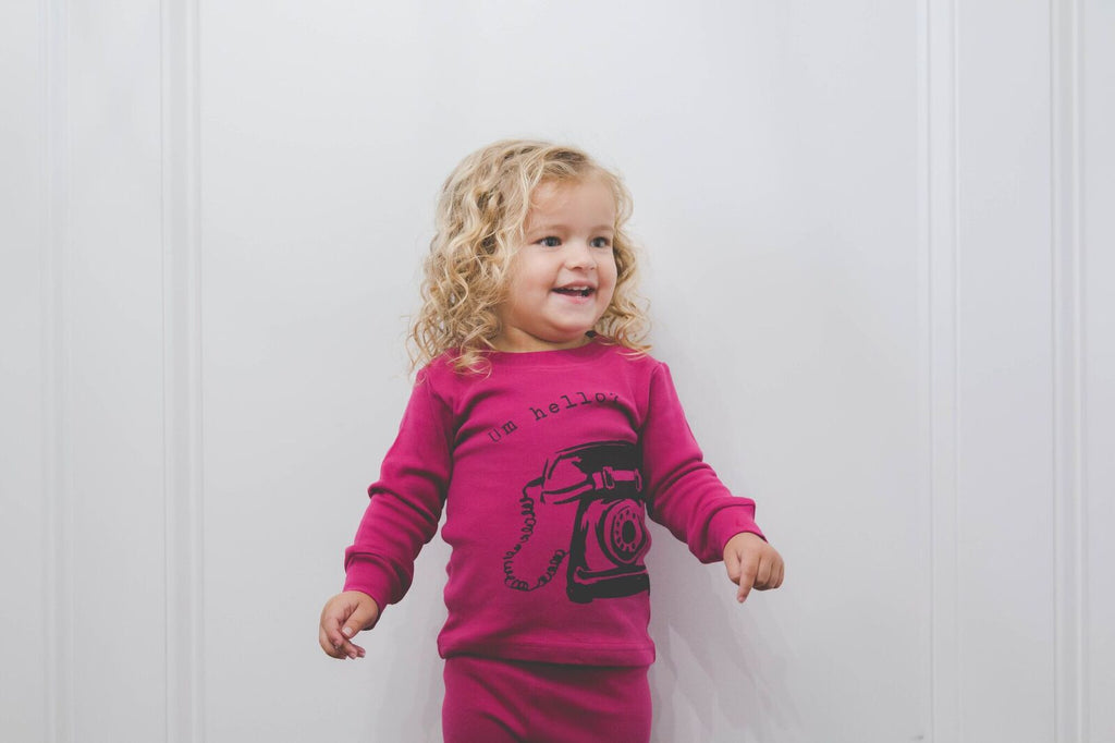 Um, Hello? (Magenta) Long Sleeve Pajamas - Le Bébé Chic Boutique