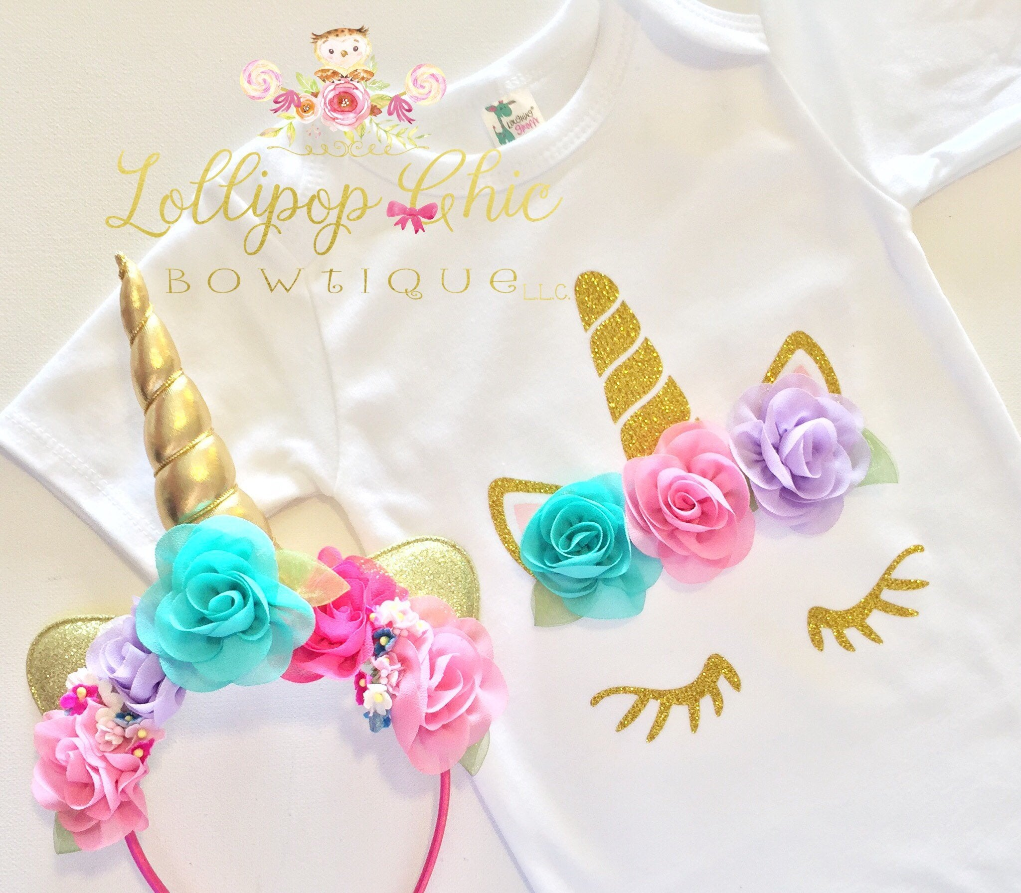 Unicorn Flower Shirt Brights - Le Bébé Chic Boutique