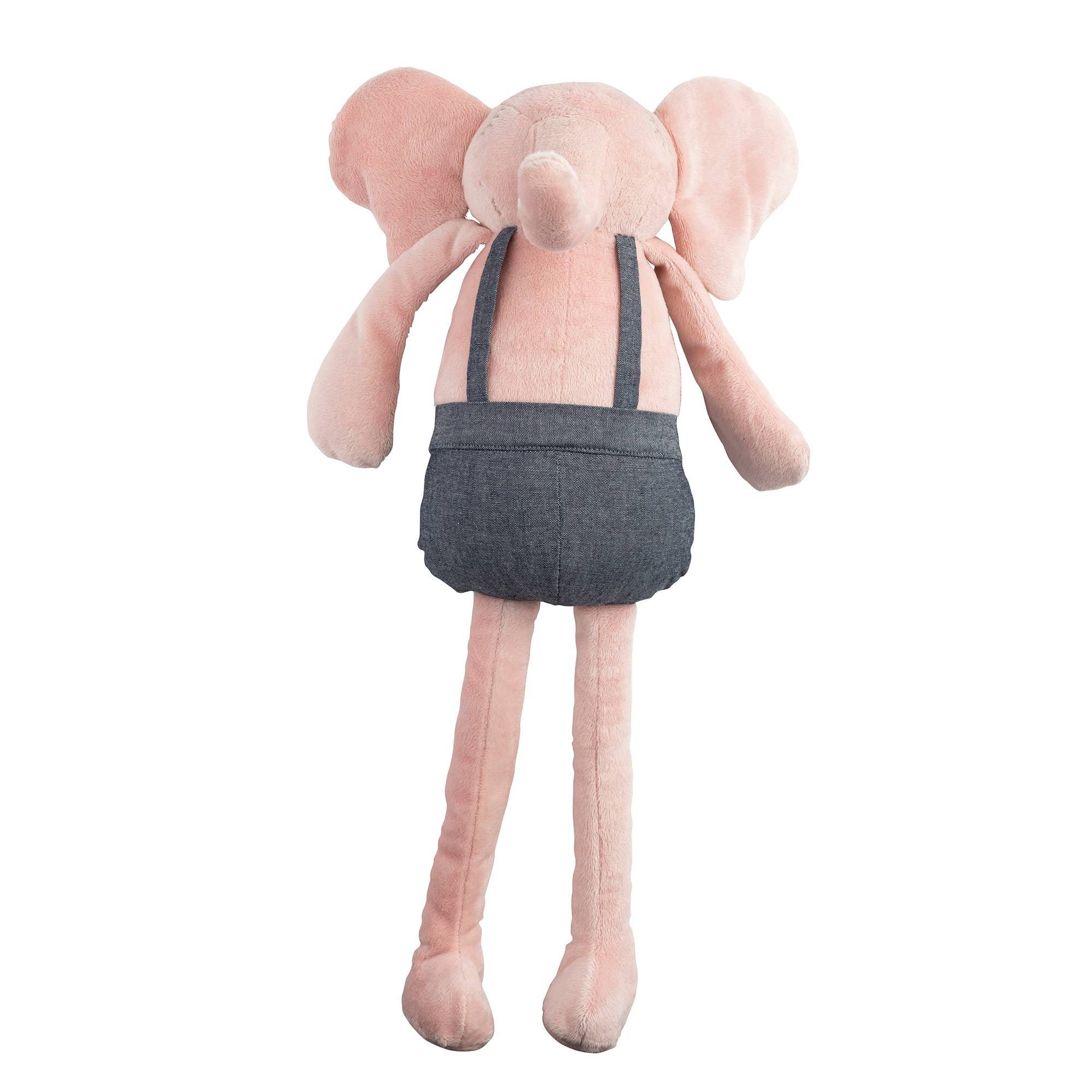 Lil Pyar Pink Elephant Plush Huggie Doll in denim coveralls