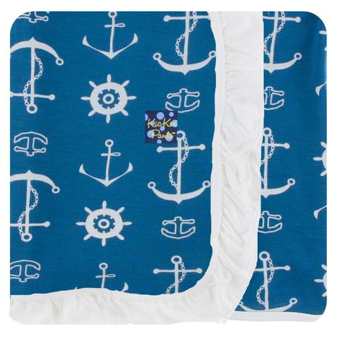 Kickee Custom Print Ruffle Toddler Blanket (Twilight Anchor - One Size)