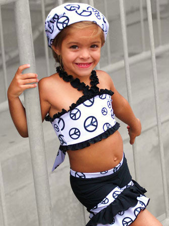 Peace Love and Rock N Roll with swim cap - Le Bébé Chic Boutique