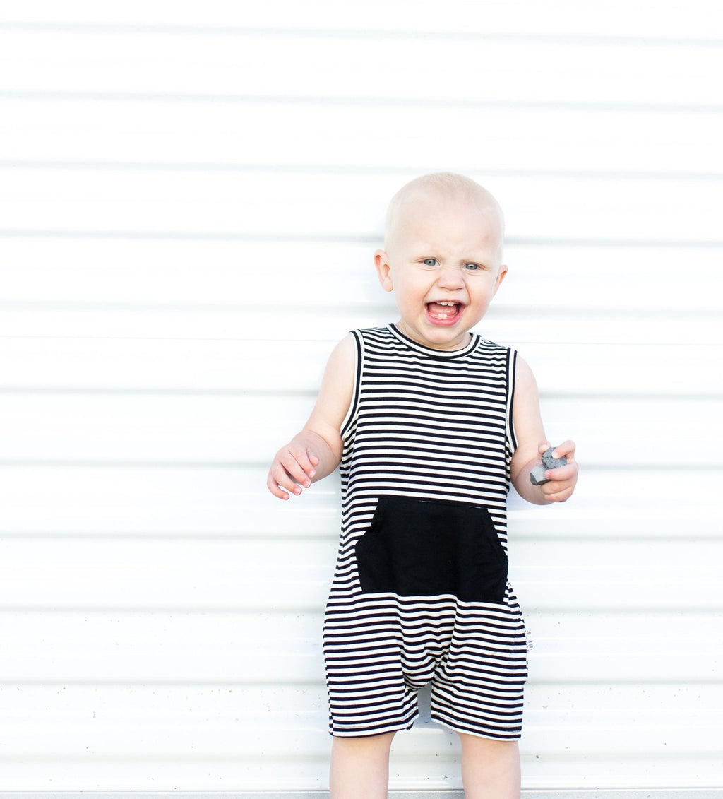The Tank Romper II (Black Stripe)