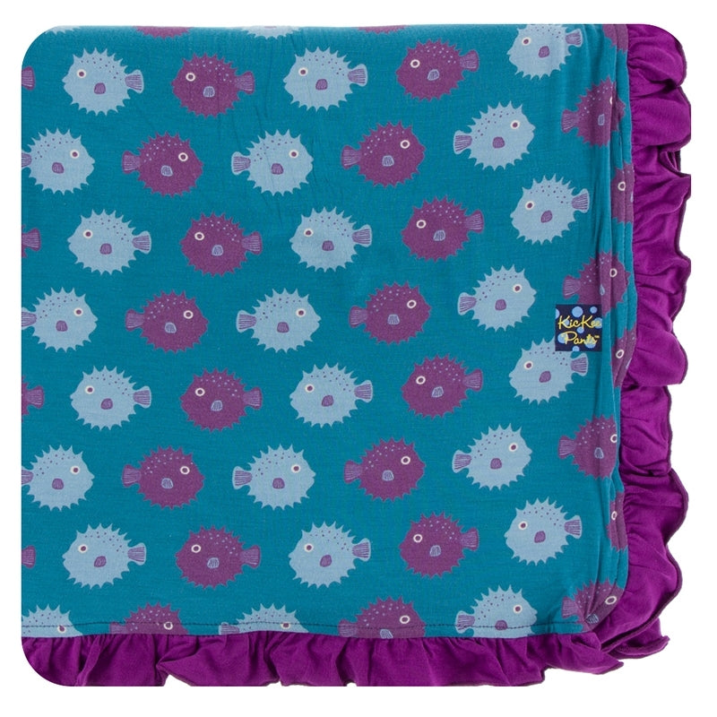 Print Ruffle Toddler Blanket Seagrass Puffer