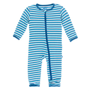 Print Coverall With Zipper- Confetti Anniversary Stripe - Le Bébé Chic Boutique