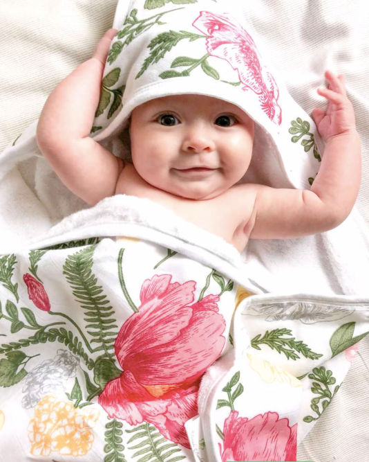 Bambi Bamboo - Floral Hooded Baby Towel
