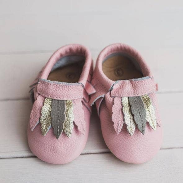 Pink Gold and Gray Feather Moccasin - Le Bébé Chic Boutique