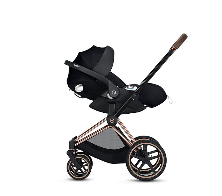 Priam Stroller with Rose Gold Frame and Premium Black Seat