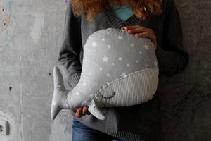 Sleepy Whale Pillow Nursery Decor 10X15 ' | Grey White Stars