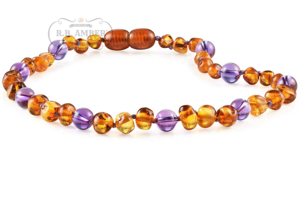 R.B. Amber Jewelry - Cognac Amethyst Amber Necklace