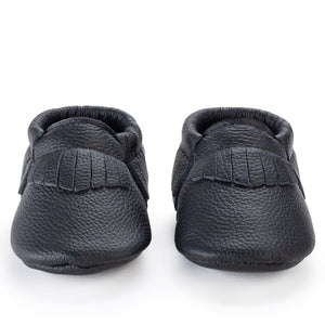 Black Genuine Leather Baby Moccasins - Le Bébé Chic Boutique