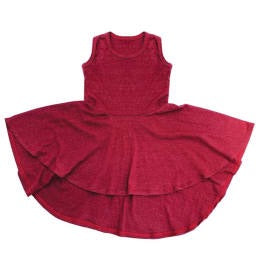 Wine Racerback Hi-Lo Circle Dress (4T) - Le Bébé Chic Boutique