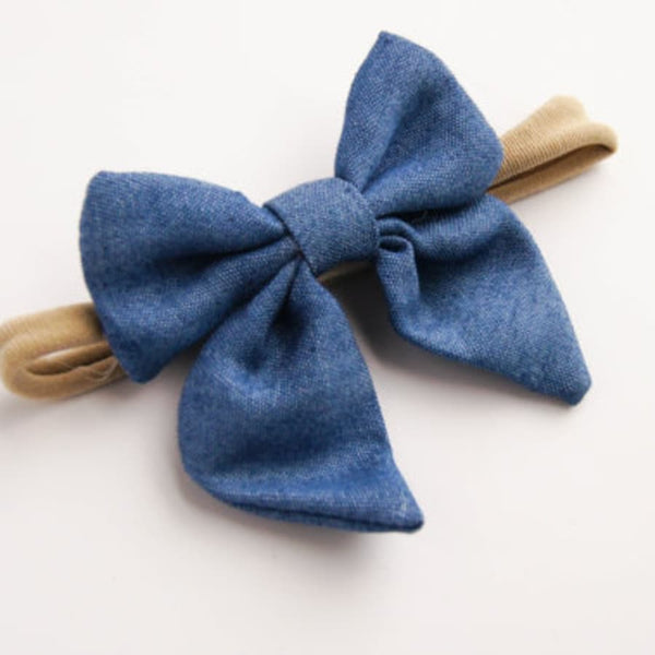 Baby Girl Headband - Sailor Bow - Chambray - Le Bébé Chic Boutique