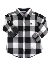 Black & White Plaid Button Down Shirt - Le Bébé Chic Boutique