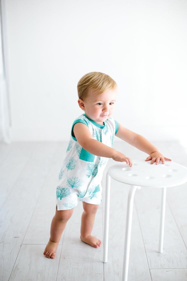 Teal Sea Fan Shortall - Le Bébé Chic Boutique