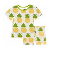 Print Short Sleeve with Shorts Pineapple with Meadow Trim - Le Bébé Chic Boutique