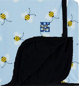 Custom Print Toddler Blanket (Pond Bees with Midnight Trim and Reverse) - Le Bébé Chic Boutique