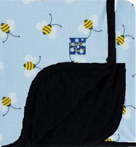 Custom Print Toddler Blanket (Pond Bees with Midnight Trim and Reverse)