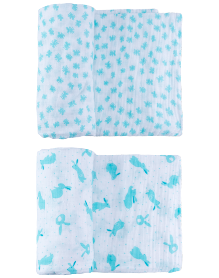 Light Blue Quick Like Bunnies Swaddle Set - Le Bébé Chic Boutique