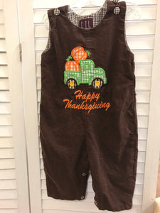 Little Cactus Thanksgiving Overalls 6-12M