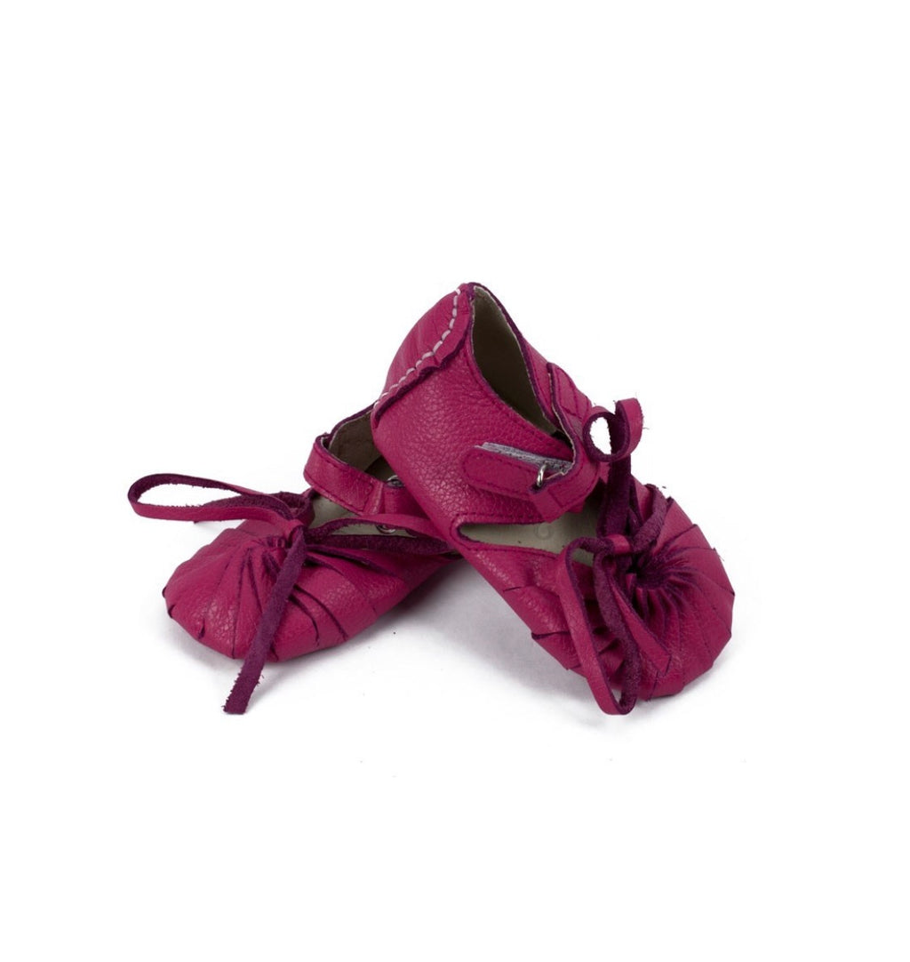 Bella – Pink Pebbled Leather Baby Moccasins - Le Bébé Chic Boutique