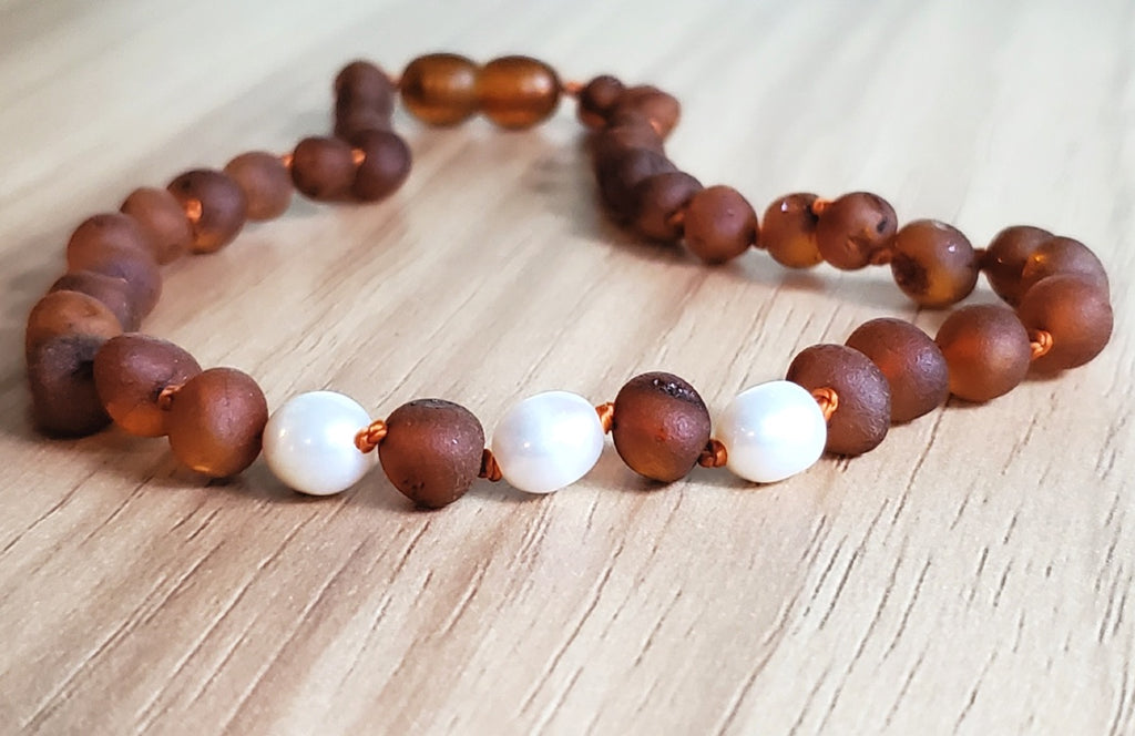 R.B. Amber Jewelry - Raw Cognac Pearl Amber Necklace